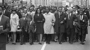 Coretta Scott King leads the 'March on Memphis' five days after the assassination of her husband