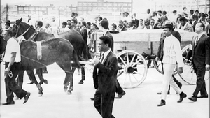 Two mules pull a cart carrying King's coffin during his funeral in Atlanta
