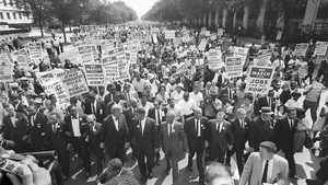 King (3rd from left) and other civil right leaders lead the 'March on Washington', 1963