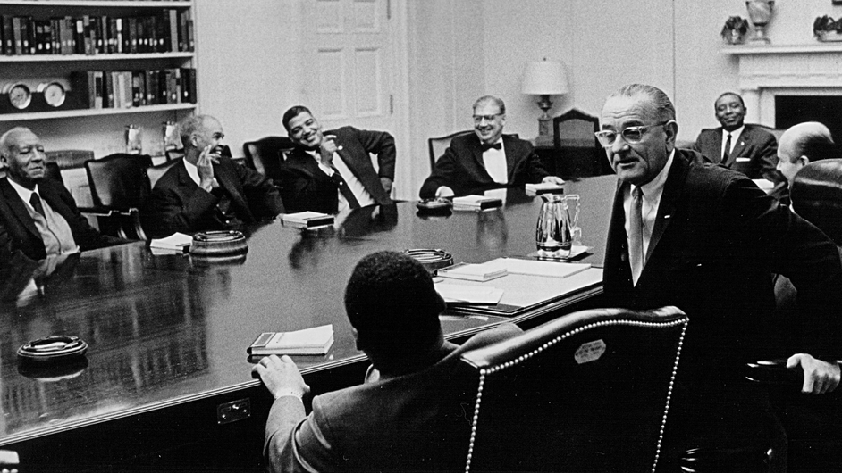 King and several other civil rights leaders meet US President Lyndon B Johnson