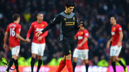 Luis Suarez is available for the first time this season as Liverpool take on Manchester United
