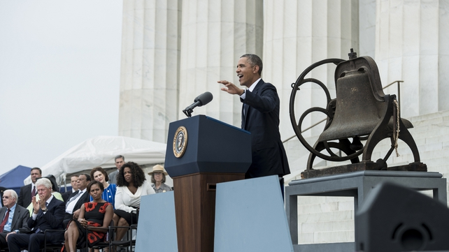 US President Barack Obama said Martin Luther King's speech inspired millions of Americans