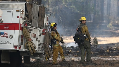 Dorado Hills firefighters take a break from battling the Rim Fire