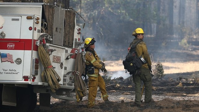 Dorado Hills firefighters take a break from battling the Rim Fire