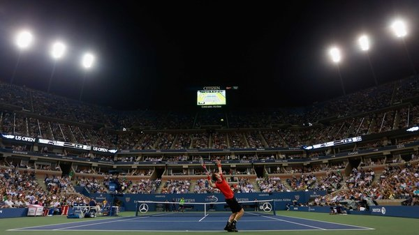 Andy Murray serves at Flushing Meadows