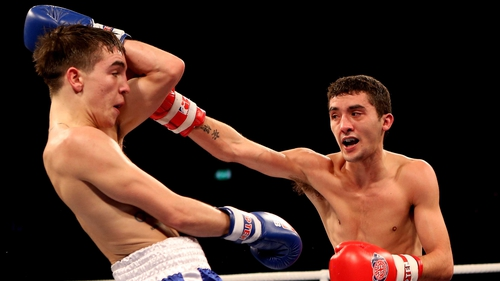 Michael Conlan (L) against Andrew Selby during January's 50-56kg bout in the World Series of Boxing