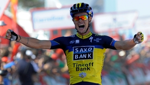 Nicolas Roche celebrates winning stage 2 of the Vuelta a Espana, one of cycling's three Grand Tours