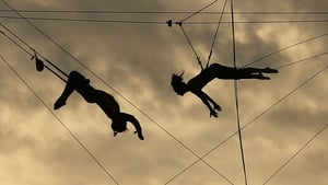 Students practice on a trapeze at the Trapeze School of New York on the West Side of Manhattan