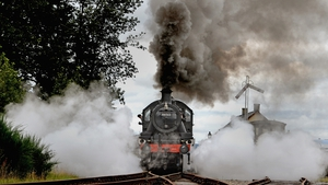 A 1952 British Rail engine travels along the Highland Main Line to celebrate its 150th anniversary