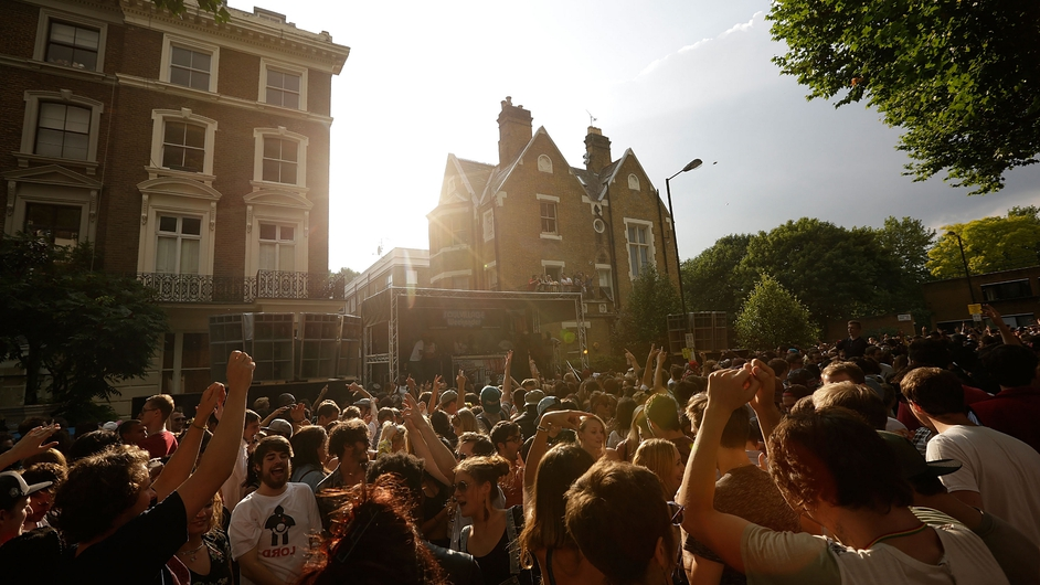 Revellers enjoy music at the Notting Hill Carnival in London