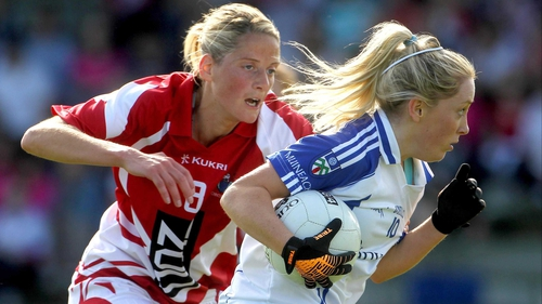 Ciara McAnespie (r) was one of Monaghan's stars in the convincing win over Laois