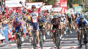 Michael Morkov celebrates victory at the end of the 177-kilometre stage from Guijuelo to Caceres