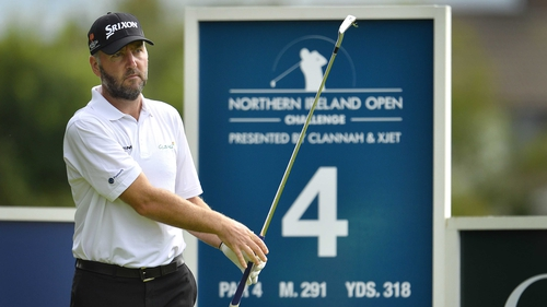 Scotland's Raymond Russell tees off at the fourth hole at Galgorm Castle in the opening round of the Northern Ireland Open