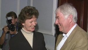 President Mary Robinson congratulates Mr Heaney shortly after the announcement of his Nobel Prize win (Pic: RTÉ Stills Library)