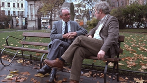 Writers Brian Friel and Mr Heaney pictured sitting in St Stephen's Green, Dublin in November 1982 (Pic: RTÉ Stills Library)