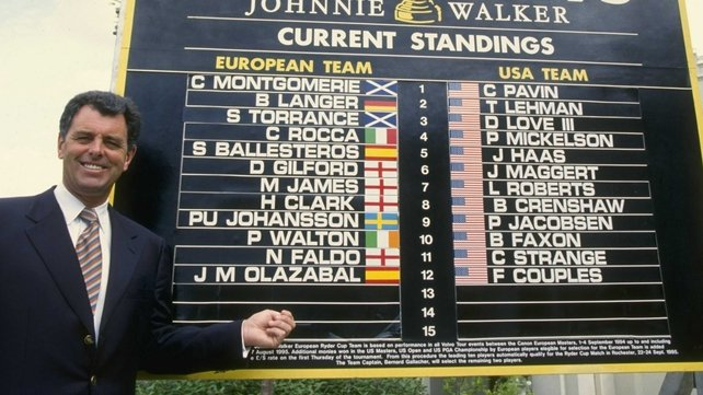 Bernard Gallacher with the team lists for the 1995 Ryder Cup at Wentworth
