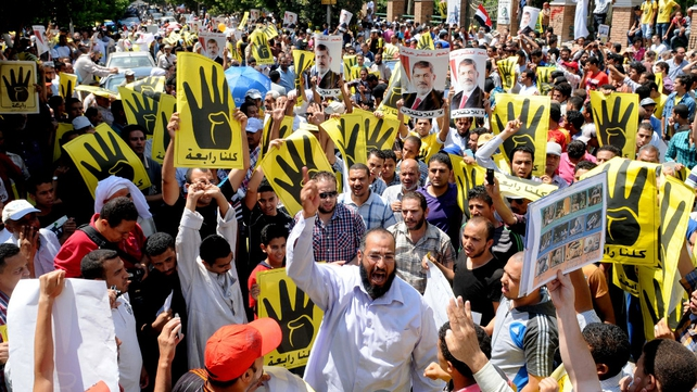 Muslim Brotherhood supporters take part in a demonstration in Hilwan, south of Cairo,