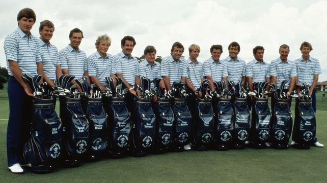 Bernard Gallacher, fifth from right, in the 1983 Ryder Cup team