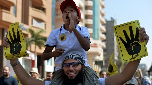 Pro-Mursi supporters at a rally in Nasr city, northeast of Cairo