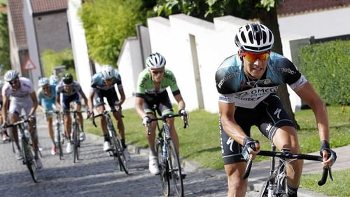 Zdenek Stybar (r) held off the challenge of Philippe Gilbert to win the stage