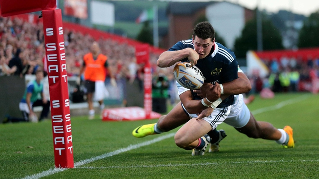 Ronan O'Mahony touches down at Musgrave Park en route to a hat-trick for Munster