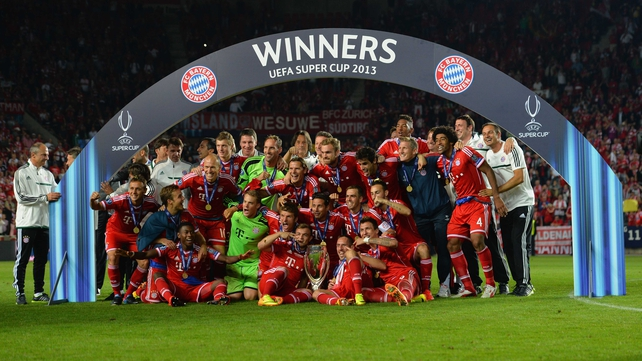 Celebration time for Bayern Munich after their victory in Prague