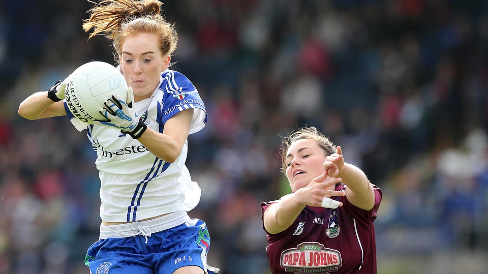 Grainne McNally of Monaghan wins the ball ahead of Galway's Gillian O'Connor