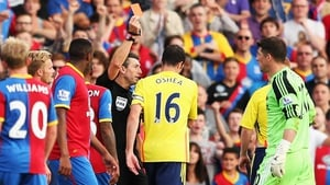 John O'Shea was sent off with 12 minutes to play