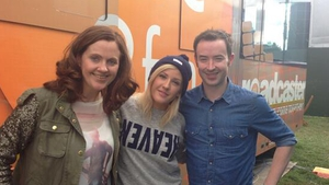 2fm's Ruth Scott (L) and Paddy McKenna with Ellie Goulding