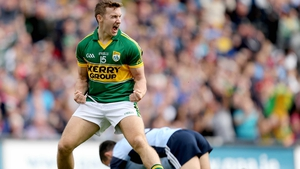 James O'Donoghue celebrates scoring Kerry's first goal against Dublin