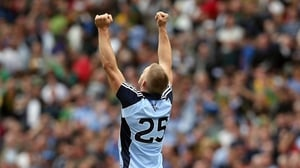 Eoghan O'Gara celebrates at the end of the game, which Dublin won by seven points