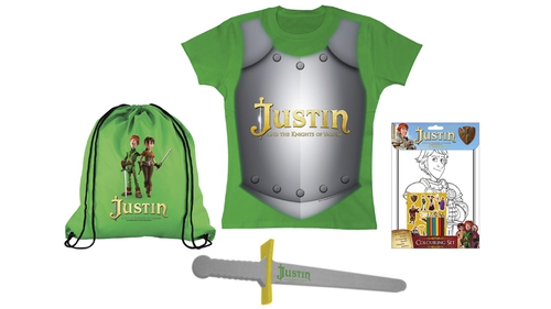 Five Justin and the Knights of Valour goodie bags to giveaway