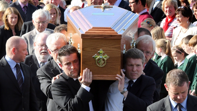 The family of Seamus Heaney, carry his coffin at St Marys Church Bellaghy, in Co Derry