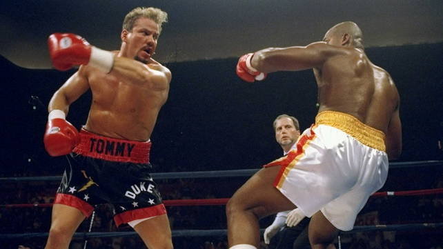 Tommy Morrison in action against Donovan 'Razor' Ruddock in 1995