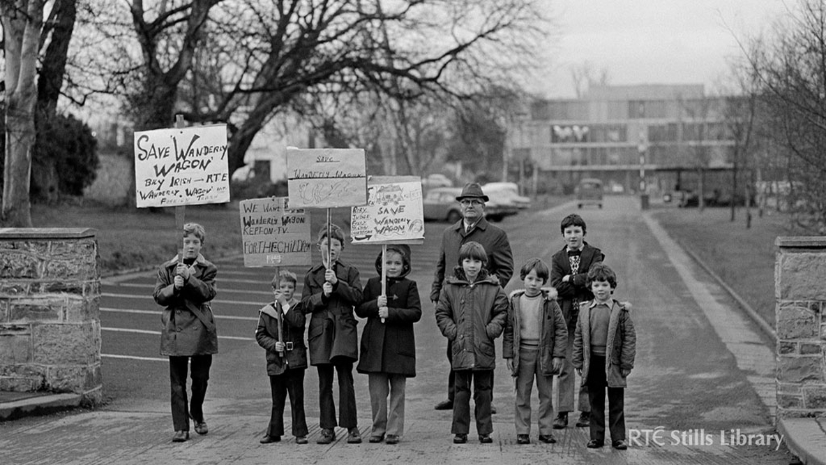 Youngsters Picket RTÉ in 1974. From left to right, Robert Frawley, Alan Frawley, David Keegan, Louise Keegan (cousins of the Frawleys) and Frank Madden (now deceased) at the back. The remaining four children have yet to be identified.