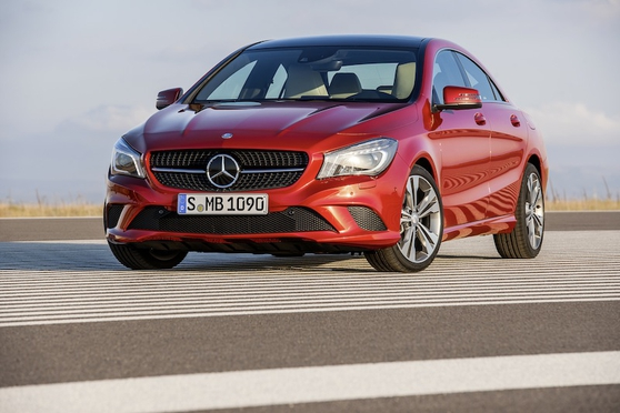 CLA's exterior pays homage to the bigger CLS four-door coupe
