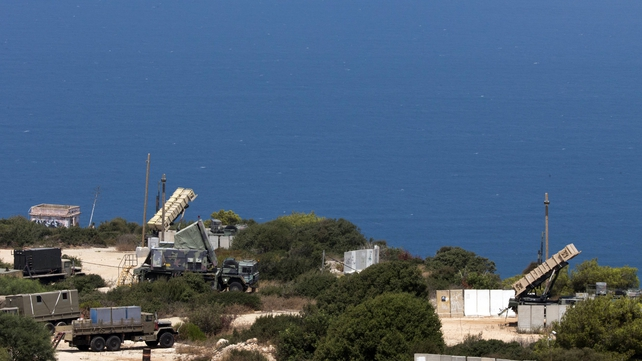 Patriot surface-to-air missile batteries are seen in the Mediterranean coastal city of Haifa north of Israel last week