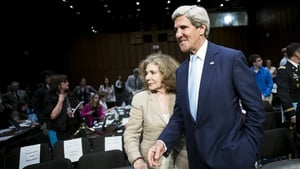 Teresa Heinz Kerry stands with her husband US Secretary of State John Kerry after a hearing of the Senate Foreign Relations Committee
