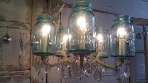 Repurposed mason jar chandelier