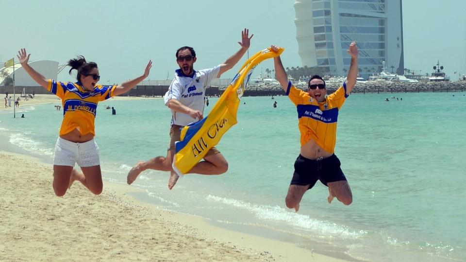 Banner fans Orla Derrane, Alan Hogan and John Fahy show their support in Dubai