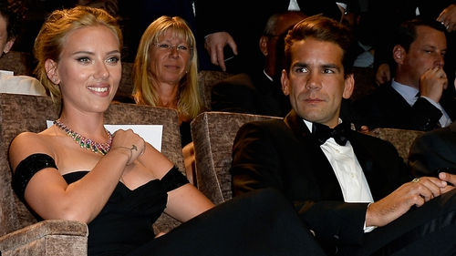 Scarlett Johansson and Romain Dauriac at the Venice Film Festival