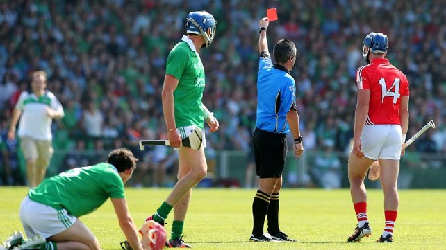 Patrick Horgan is sent off against Limerick in the Munster final