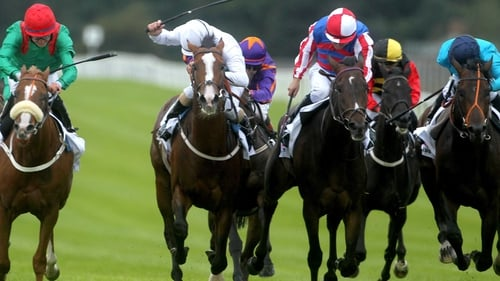 Royal Diamond (red and white cap) wins in the Curragh last year