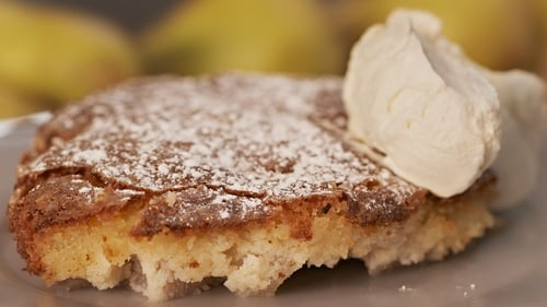 Rachel Allen's Mediterranean - inspired pear frangipane as featured on her show Rachel Allen's Everyday Kitchen