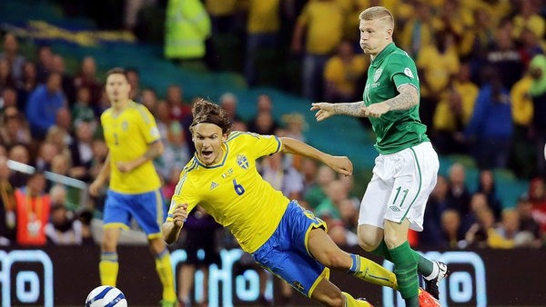 Albin Ekdal, in action here against Ireland, may have ruled himself out of Euro 2016 due to some nightclub antics
