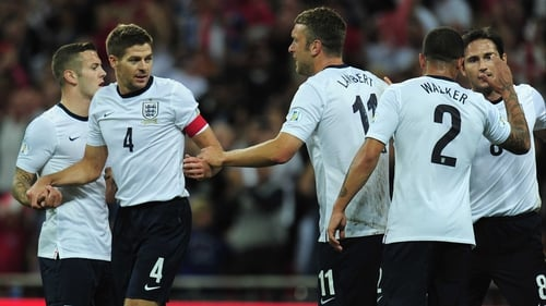 Steven Gerrard is congratulated following his goal