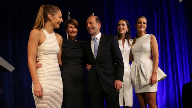 Prime minister-elect Tony Abbott and his family after he delivered his victory speech
