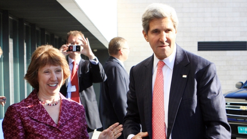 EU foreign policy chief Catherine Ashton discusses Syria with US secretary of state John Kerry