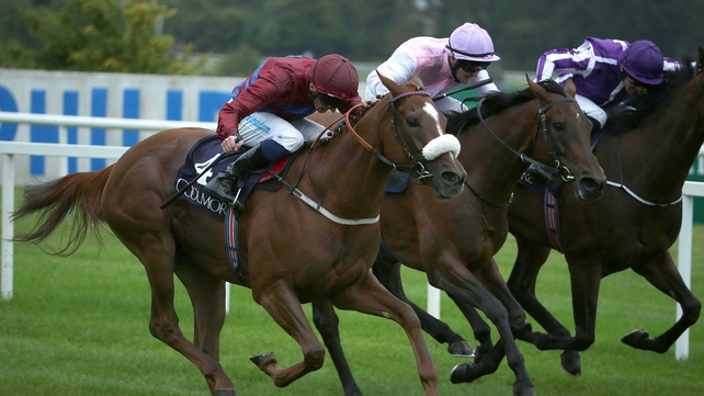 La Collina (nearest) and Chris Hayes pull clear to win The Matron Stakes