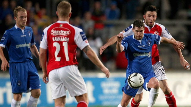 Limerick's Stephen Bradley and Killian Brennan of St Patrick's Athletic tussle f